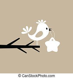 鳥, 上に, a, 木