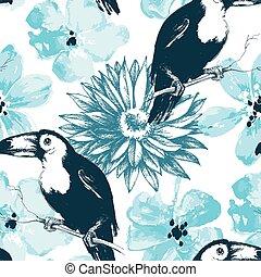 鳥, 以及藍色, 水彩, 花, seamless, 圖案