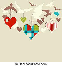 鳥, 以及, 心, 矢量, 插圖