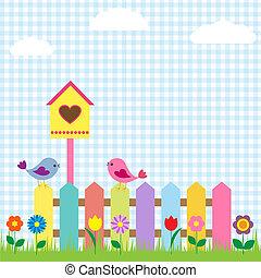 鳥, 以及, birdhouse