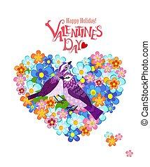 鳥, 心, 美しい, 花が咲く, あなたの, design., 恋人, 形