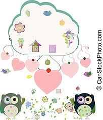 鳥, 愛 中心, イラスト, 花, ベクトル, フクロウ, 雲