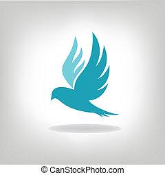鳥, 拡大された, 黒, 隔離された, 翼