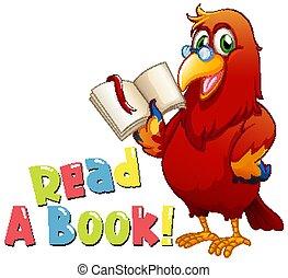 鳥, 本, 壷, 読書, 読まれた, 単語, デザイン
