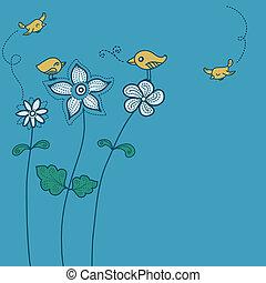鳥, 花, 背景色, かわいい