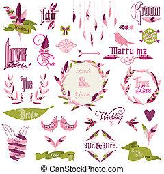 鳥, 要素, 羽, 花輪, -, ベクトル, デザイン, 矢, 結婚式, リボン