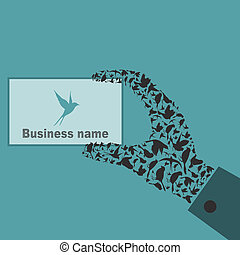 鳥, a, 手