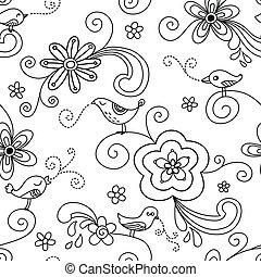 鳥, seamless, パターン, 花