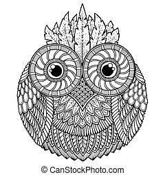 鳥, theme., 貓頭鷹, 黑色 和 白色, 壇場, 由于, 摘要, 种族, 阿茲台克人, 裝飾品, pattern., 貓頭鷹, 背景。, 貓頭鷹, tattoo.