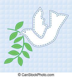 鳩, 平和, 刺繍