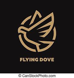 鳩, illustration., シンボル, 飛行, 暗い, バックグラウンド。, ベクトル, ロゴ