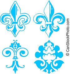 鳶尾花形的紋章, 元素