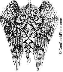 鳶尾花形的紋章, 由于, 機翼