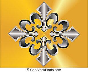 鳶尾花形的紋章, 編組, 在上方, 黃金, ba