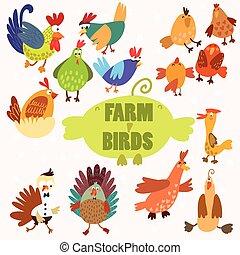 鶏, アヒル, かわいい, 農場, トルコ, birds., ガチョウ
