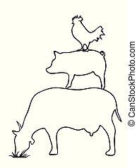 鶏, ベクトル, 豚, 牛, ロゴ