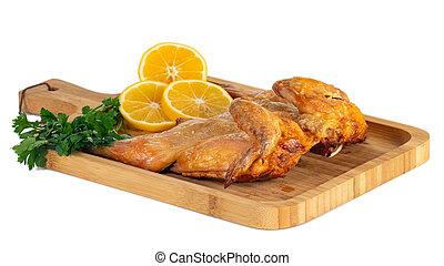 鶏, レモン, 背景, パセリ, bord, 白, 木製である, 揚げられている