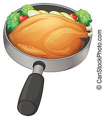 鶏, 揚げられている, パン