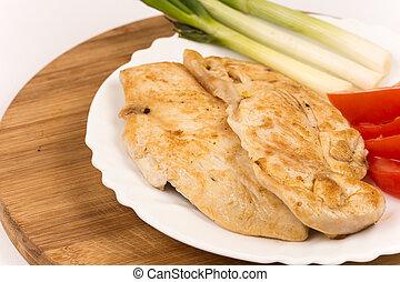 鶏, 揚げられている, 白 肉