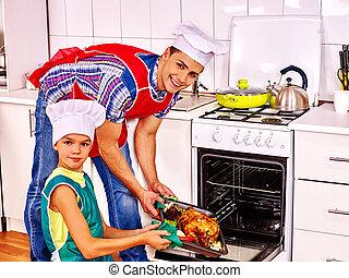 鶏, 料理, 父, kitchen., 息子