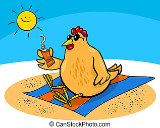 鶏, 浜, 漫画