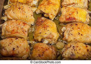 鶏, 焼かれた, 回転する, 胸