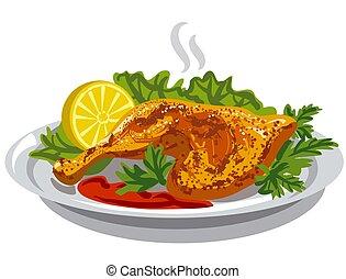鶏, 焼かれた, 腿