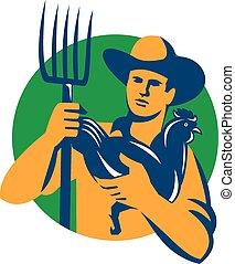 鶏, 農夫, 有機体である, レトロ, 干し草用フォーク