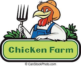 鶏, 農夫, 野菜, 漫画, 干し草用フォーク