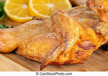 鶏, bord, 木製である, 揚げられている, lemon.