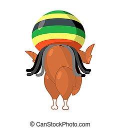 鶏, hat., rasta, 焼かれた, rastafarians., reggae, 揚げられている, ...