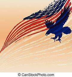 鷹狀標飾輪廓, 由于, 美國, flag.
