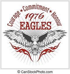 鷹, 象征, 葡萄酒, -, 標簽, retro