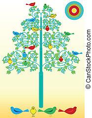 鸟, 在上, a, flourishes, 树