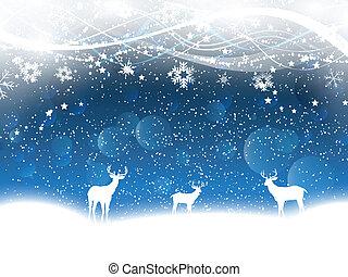 鹿, クリスマス, 背景