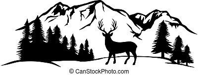 鹿, 山, イラスト, ベクトル, 風景, 森林