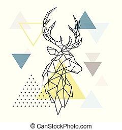 鹿, 幾何学的, シルエット, 三角形, バックグラウンド。