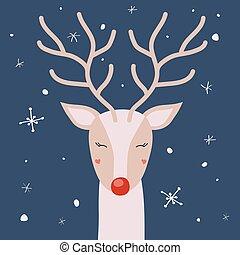 鹿, 雪, 矢量, 角, 喜欢, 圣诞贺卡