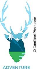 鹿, 黑色半面畫像, 被隔离, 在懷特上, 背景。, 矢量