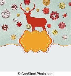 鹿, eps, template., デザイン, 8, クリスマス