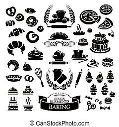 麵包房, 集合, 設計, 元素, 圖象