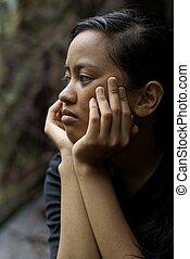麻烦, 亚洲人, 青少年女孩, 思想, 带, 在脸上的手