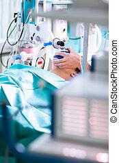 麻醉, -, 病人, 在下面, narcosis, 呼吸, 透過, a, 面罩