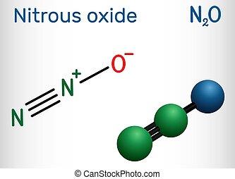 """麻醉, n2o, 結構, 氧化物, molecule., """"laughing, 食物, 它, gas"""", propellant., pharmacologic, 生產, 代理, 公式, 化學制品, 亞硝, 使用, 分子, 添加劑, model., 這樣"""