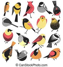 麻雀, bullfinches, 冬季, 夏天, 矢量, 鸟