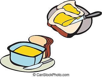 黃油, 早餐, bread