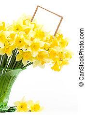 黃的花, 在, a, 玻璃瓶
