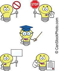黃色的光, 燈泡, 集合, 彙整, 8