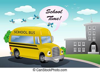 黃色的學校公共汽車, 上, 學校