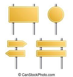 黃色的道路, 簽署, 集合, 在懷特上, 背景。, 矢量